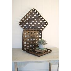 S/3 Dark Brown Square Woven Split Wood Baskets