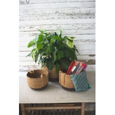 Round Baskets With Jute Handles, Set of 3