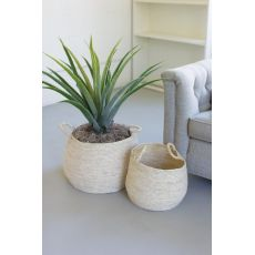Round Seagrass Baskets With Handles, Set of 2