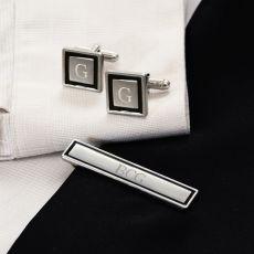 Black Border Designer Cuff Links & Tie Clip