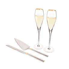 Personalized Gold Champagne Flutes & Cake Serving Set