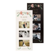 Personalized Floral Wedding Multi Photo Frame, Black