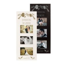 Personalized Gold Floral Wedding Multi Photo Frame, Black