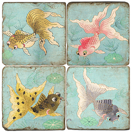 Goldfish II marble coasters set of 4