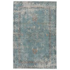 Contemporary Vintage Look Pattern Gray/Blue Polyester Area Rug ( 9X12)