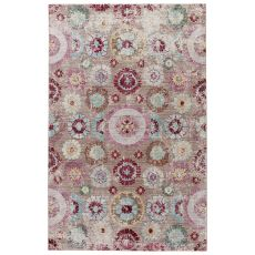 Contemporary Vintage Look Pattern Brown/Blue Polyester Area Rug ( 9X12)