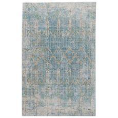 Contemporary Vintage Look Pattern Gray/Blue Polypropylene Area Rug ( 7.8X10)