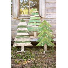 Recycled Wood Trees With Stands Set of 3