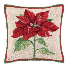Holiday  Poinsettia Hook Pillow