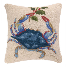 Blue Crab Holding Holly Hook Pillow