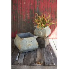 Metal Pig Planters, Set of 2