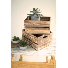 S Of 2 Wooden Slatted Boxes Set of 4