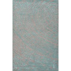 Contemporary Abstract Pattern Gray/Blue Wool and Art Silk Area Rug (9x12)