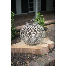 Lowith Round Grey Willowith Lantern With Glass - Large