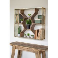 Wooden Honey Comb Shelf with Ant Brass Finish Metal Mesh Frame