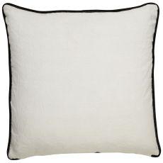 "Geometric Pattern Ivory/Black Linen Down Fill Pillow ( 22""X22"")"