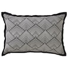 "Modern/Contemporary Pattern Black/Ivory Cotton Down Fill Pillow ( 16""X24"")"