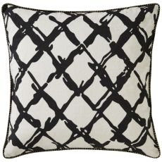 "Modern/Contemporary Pattern Black/Ivory Linen Down Fill Pillow ( 22""X22"")"