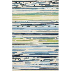 Indoor/Outdoor Abstract Pattern Blue/Green Polypropylene Area Rug (9X12)