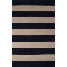 Contemporary Stripes Pattern Blue/Ivory Wool Area Rug (9X13)