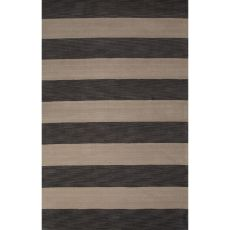 Contemporary Stripes Pattern Gray/Ivory Wool Area Rug (9X13)