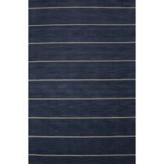 Contemporary Stripes Pattern Blue Wool Area Rug (9X13)