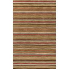 Contemporary Stripes Pattern Orange/Yellow Wool Area Rug (8X10)