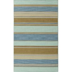 Flatweave Stripes Pattern Blue/Taupe Wool Area Rug (9X12)