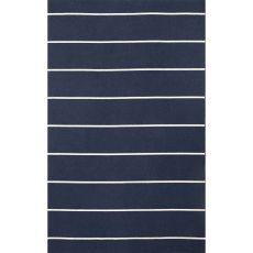 Flatweave Stripes Pattern Blue/Ivory Wool Area Rug (8X10)