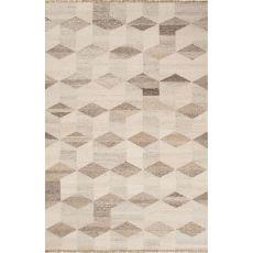 Flatweave Tribal Pattern Ivory/Beige Wool Area Rug (9X12)