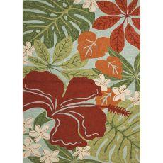 Floral & Leaves Pattern Polypropylene Coastal Lagoon Area Rug