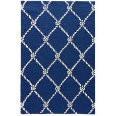 Coastal Novelty Pattern Blue/White Polypropylene Area Rug ( 7.6X9.6)