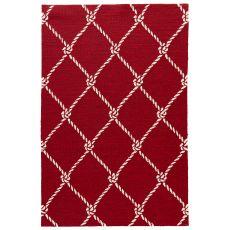 Coastal Novelty Pattern Red/White Polypropylene Area Rug ( 7.6X9.6)