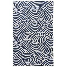 Coastal Novelty Pattern White/Blue Polypropylene Area Rug ( 7.6X9.6)