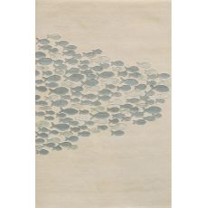 Contemporary Coastal Pattern Ivory/Blue Wool and Art Silk Area Rug (8x11)