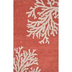 Contemporary Coastal Pattern Orange/Ivory Wool Area Rug (9.6x13.6)