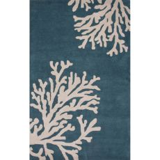 Contemporary Coastal Pattern Blue/Ivory Wool Area Rug (9.6x13.6)