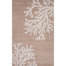 Contemporary Coastal Pattern Taupe/Ivory Wool Area Rug (9.6X13.6)