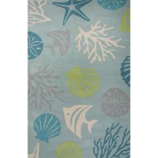 Contemporary Coastal Pattern Blue/Green Wool Area Rug (9.6x13.6)