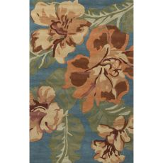 Contemporary Floral & Leaves Pattern Orange/Blue Wool Area Rug (8X11)