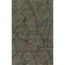 Contemporary Coastal Pattern Green/Blue Wool Area Rug (8X11)