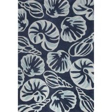 Contemporary Coastal Pattern Blue/Ivory Polyester Area Rug (7.6x9.6)