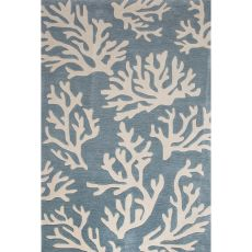 Contemporary Coastal Pattern Blue/Ivory Polyester Area Rug (9x12)