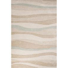Contemporary Coastal Pattern Beige/Blue Polyester Area Rug (9X12)