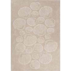Contemporary Coastal Pattern Natural/Ivory Polyester Area Rug (7.6x9.6)