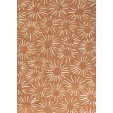 Contemporary Floral & Leaves Pattern Orange/Ivory Polyester Area Rug (7.6X9.6)