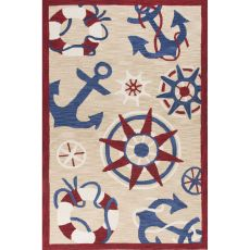 Contemporary Coastal Pattern Natural/Red Polyester Area Rug (7.6x9.6)