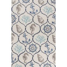 Contemporary Coastal Pattern Ivory/Blue Polyester Area Rug (7.6x9.6)
