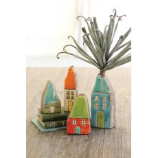 Colorful Ceramic House Bud Vases Set of 4