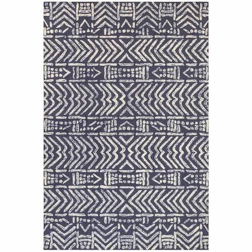 "Liora Manne Cyprus Batik Indoor Rug Denim 24""X7'6"""